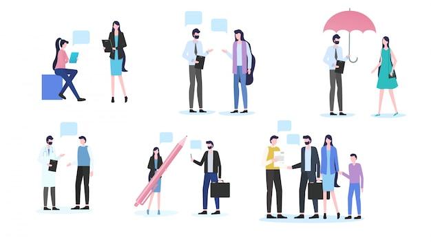 Ludzie dyskusja mężczyzna kobieta dialog biuro pracownik dyskusja lekarz spotkanie pacjenta