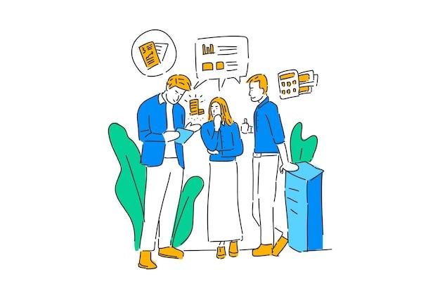 Ludzie dyskutują na rysowanie ręczne ilustracji biznesowych