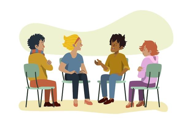 Ludzie dyskutujący o zdrowiu psychicznym