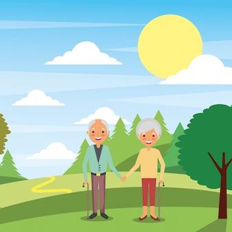 Ludzie dziadkowie postacie