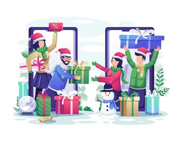 Ludzie dzielą się prezentami za pośrednictwem smartfonów online, aby uczcić świąteczną ilustrację