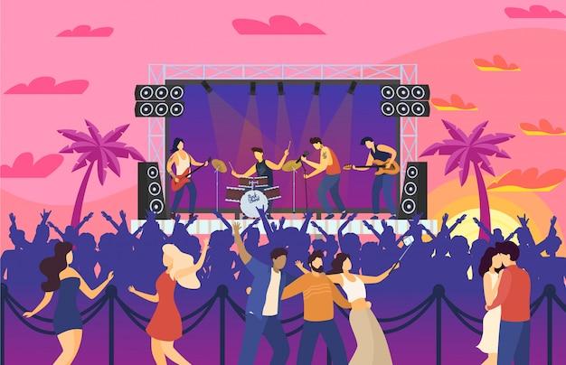 Ludzie festiwalu muzyki tańczący na koncertowej imprezie rozrywkowej i zabawny występ, festiwal rockowy, tłum świętuje ilustrację.