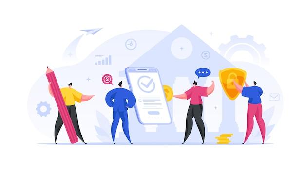 Ludzie finansują konto bankowe online i konfigurują koncepcję ochrony. grupa męskich postaci wpłaca fundusze do smartfona w celu złożenia depozytu internetowego i sprawdza swoją prywatność