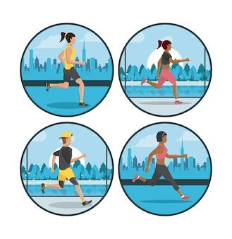 Ludzie fitness działa okrągłe ikony