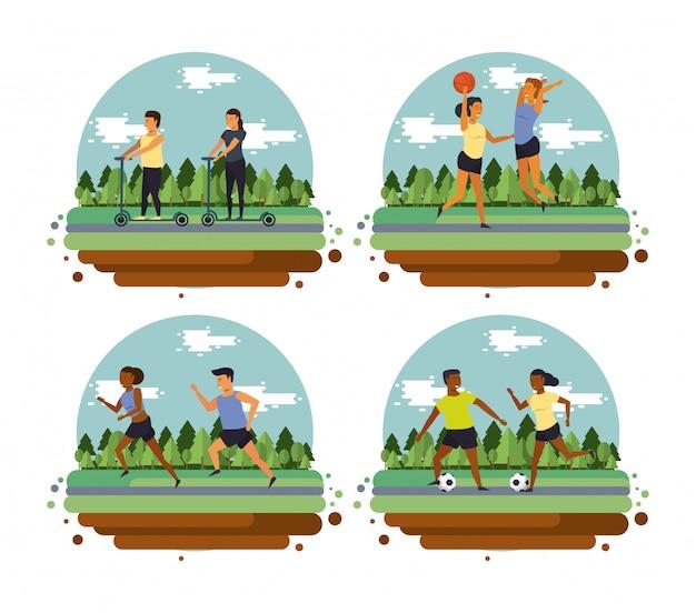 Ludzie fitness szkolenia sportowe kreskówki