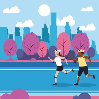 Ludzie fitness szkolenia w parku