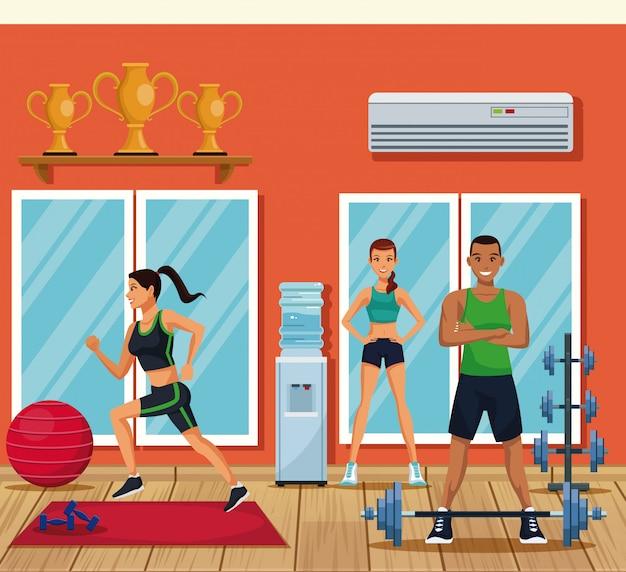 Ludzie fitness szkolenia wewnątrz siłowni