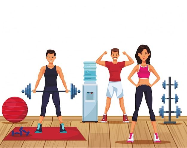 Ludzie fitness w siłowni