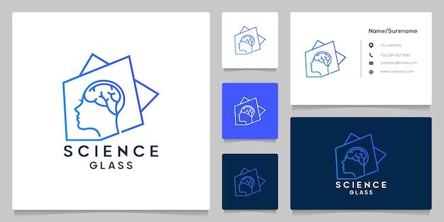 Ludzie głowy technika burzy mózgów z abstrakcyjnym kwadratowym projektem logo z wizytówką