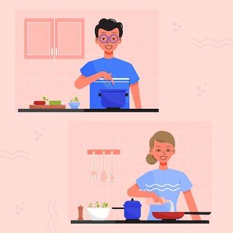 Ludzie gotowania kolekcji