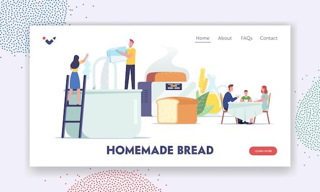 Ludzie gotowanie i jedzenie świeżej piekarni szablon strony docelowej. małe postacie gotują domowy chleb wlewając składniki do ogromnego miksera i piekarza, rodzinne posiłki. ilustracja wektorowa kreskówka ludzie