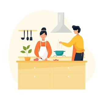Ludzie gotowanie ilustracja koncepcja