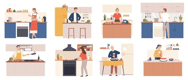 Ludzie gotują w domu. mężczyzn i kobiet przygotowujących jedzenie w kuchni wnętrza. postacie pieczą, smażą i gotują posiłek. kreskówka wektor zestaw kulinarny. przyrządzanie potraw jako sałatki, zupy, kurczaka, ciastek