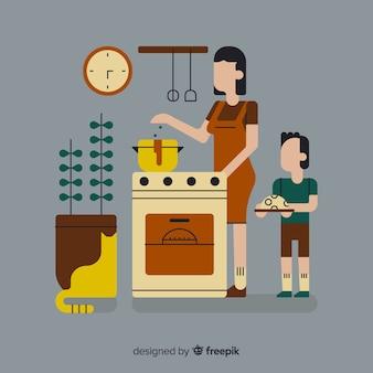Ludzie gotujący w kuchni