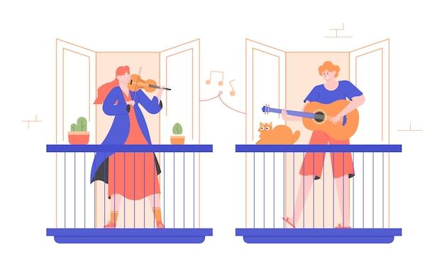 Ludzie grają na instrumentach muzycznych na balkonach. skrzypek dziewczyna i facet gitarzysta. rozrywka w domu, koncert dla sąsiadów, bezpłatny występ na żywo. mieszkanie nowoczesna ilustracja.