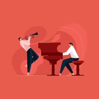 Ludzie grający na instrumentach muzycznych, zespół muzyków, orkiestra i koncepcja festiwalu muzycznego