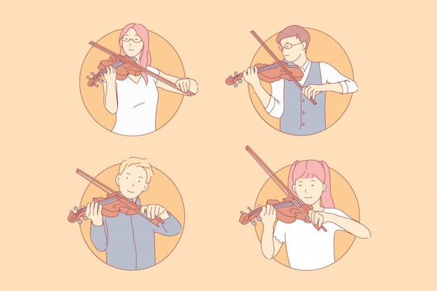 Ludzie grający na skrzypcach zestaw ilustracji