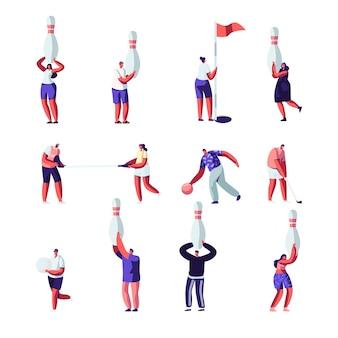 Ludzie grający w golfa i zestaw do kręgli. letnia zabawa na świeżym powietrzu i w pomieszczeniu, zdrowy styl życia. postacie ze sprzętem sportowym.