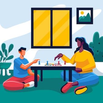 Ludzie grający w grę ludo w domu