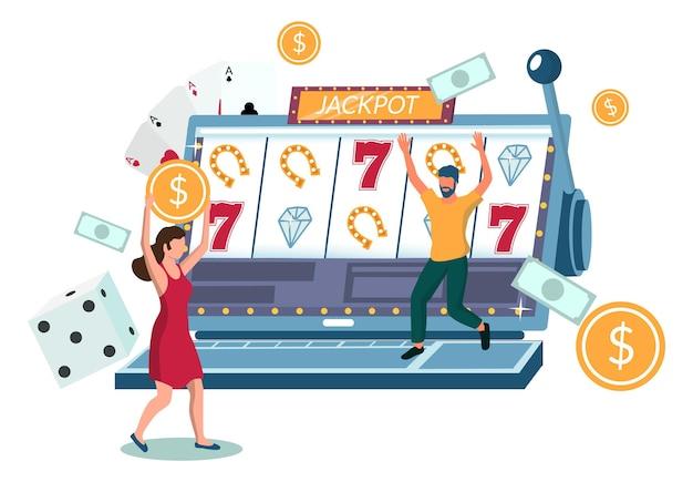 Ludzie grający w gry na automatach internetowych przy użyciu komputera przenośnego, płaskie wektor ilustracja. biznes kasynowy. jackpot w automatach. hazard w kasynie online.