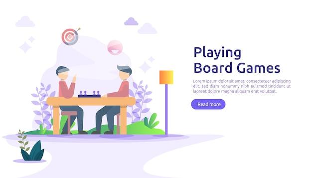 Ludzie grający w gry planszowe lub stołowe razem koncepcja.