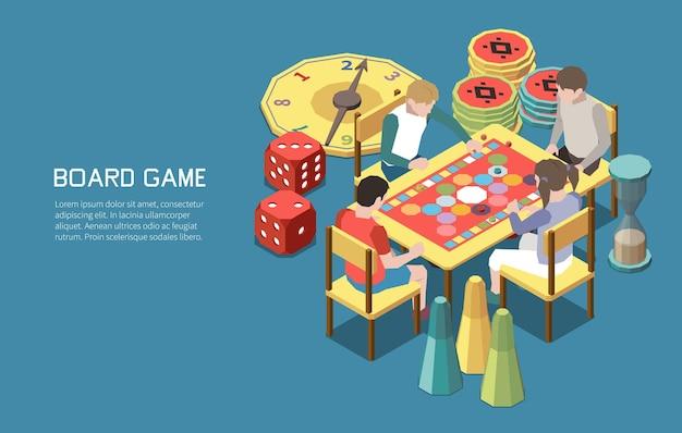Ludzie grający w gry planszowe skład izometryczny