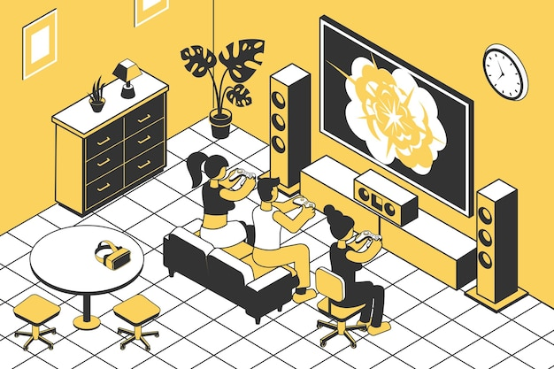 Ludzie grający w konsolę do gier z joystickami w izometrycznym salonie