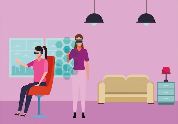 Ludzie grający w okularach rzeczywistości wirtualnej