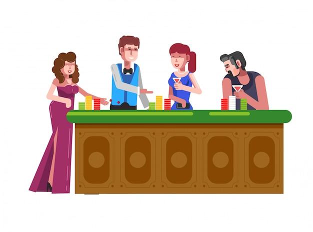 Ludzie grający w pokera w kasynie zakłady hazardowe