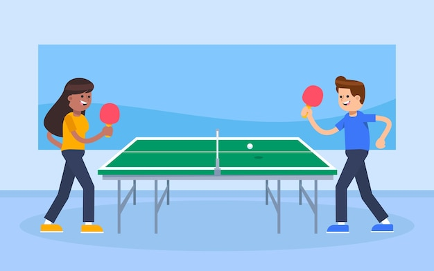 Ludzie grający w tenisa stołowego ilustracja