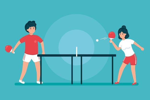 Ludzie grający w tenisa stołowego