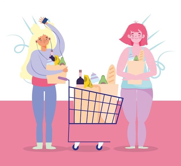 Ludzie gromadzą zakup, kobiety i dziewczyny z koszykiem i torbami supermarketu