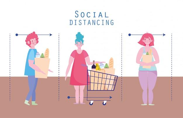 Ludzie gromadzący zakupy, zapobieganie koronawirusom, dystans społeczny