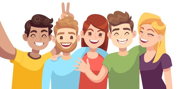 Ludzie grupują selfie. facet robi zdjęcie grupowe z uśmiechniętymi przyjaciółmi