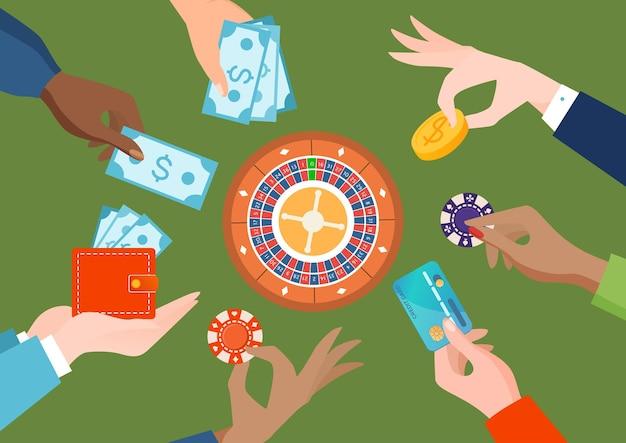 Ludzie grupy różnych narodów trzymać rękę w kasynie żeton dolara