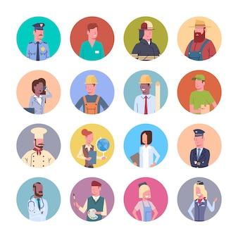 Ludzie grupy różnych zawodów ikony zestaw kolekcja zawód pracowników