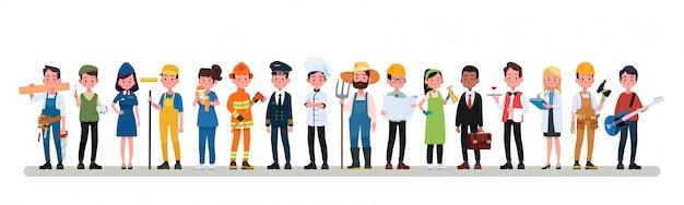 Ludzie grupy zawód inny zawód zestaw, transparent płaski międzynarodowy dzień pracy