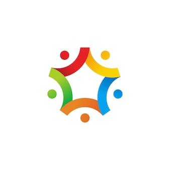 Ludzie gwiazdowej rodziny drużyny pracują wpólnie logo ikony ilustrację