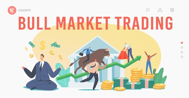 Ludzie handlujący na giełdzie byka szablon strony docelowej. brokerzy lub handlowcy analizują globalne wiadomości finansowe i finansowe dotyczące kupowania i sprzedawania obligacji po rosnącej cenie. ilustracja kreskówka wektor