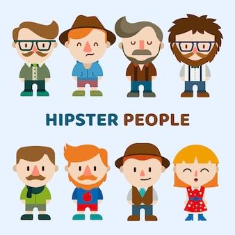 Ludzie hipster śmieszne postacie