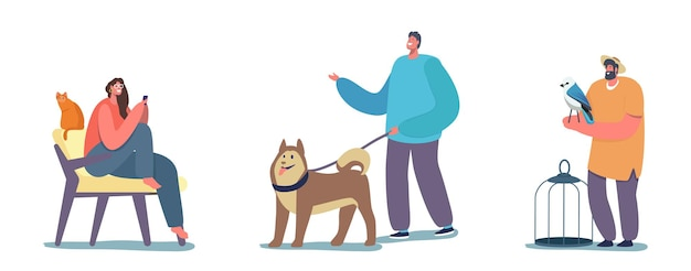 Ludzie i ich zwierzęta, szczęśliwy wesoły mężczyzna ze szczeniakiem husky na smyczy, kobieta siedzi na krześle w domu z kotem. męska postać z papugą i klatką, miłość do zwierząt. ilustracja wektorowa kreskówka ludzie