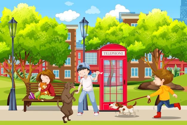 Ludzie i ich zwierzęta w parku