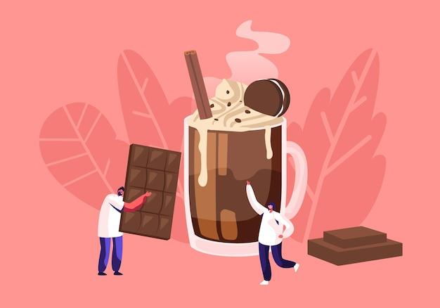 Ludzie i koncepcja czekolady z małym męskim charakterem niosą ogromny baton czekoladowy, płaska ilustracja kreskówka