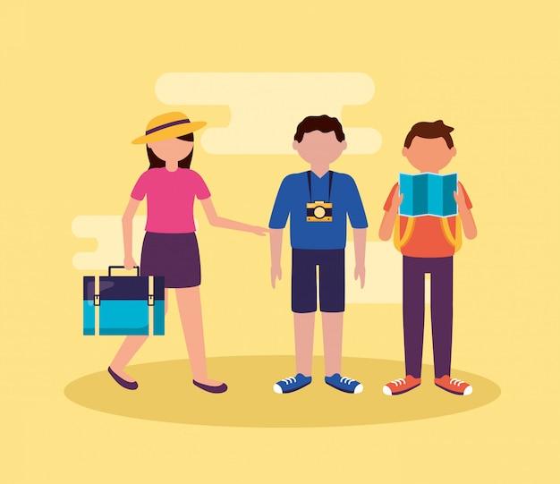 Ludzie i podróże w stylu płaskiej