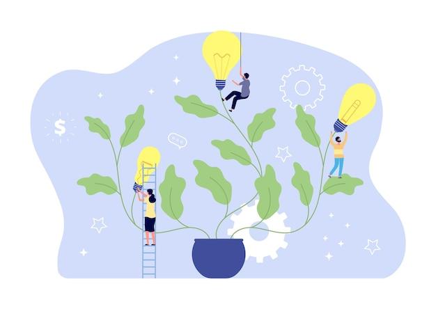 Ludzie i pomysły. kreatywna społeczność, burza mózgów lub praca zespołowa.