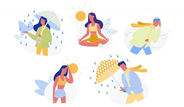 Ludzie i pory roku, różne pogody zestaw na białym tle
