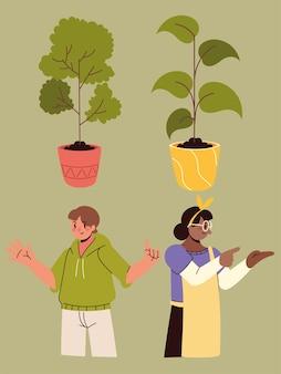 Ludzie i roślina doniczkowa