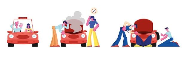 Ludzie i transport zestaw na białym tle. student przekazać egzamin na prawo jazdy do trenera, pracownik naprawa uszkodzony samochód, ludzie patrząc pod maską z dymu kreskówka płaskie wektor ilustracja, clipart