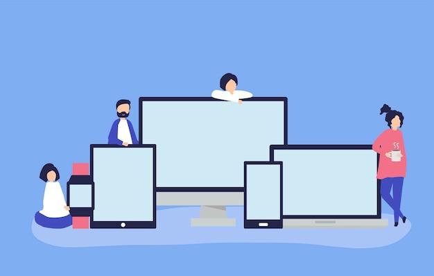 Ludzie i urządzenia cyfrowe z miejsca na kopię
