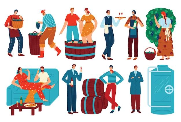 Ludzie i winogrona wino wektor zestaw ilustracji. kreskówka płaski mężczyzna kobieta postać pije wino, winiarz zbioru winogron w winnicy do produkcji wina